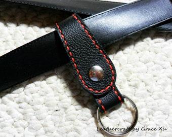 100% hand stitched handmade black cowhide leather keychain / key holder