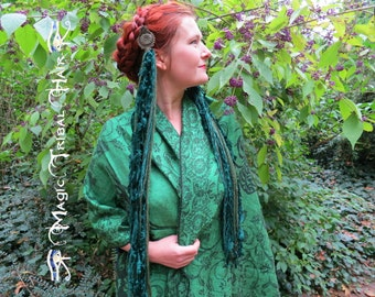 "YARN FALLS ""Emerald Fairy"" Tribal Fusion Belly Dance hip tassels Larp costume accessory Elf Renfaire headpiece Forest Witch hair extensions"
