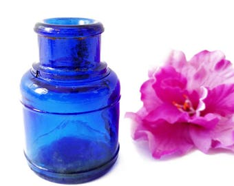 Antique Ink Bottle Inkwell Cobalt Blue Glass Jar Antique Cobalt Bottle Glass Inkwell Old Blue Bottle