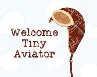 Aviator Pilot Hat Nursery Art Print, New Baby, 8x10, Welcome Tiny Aviator, Gender Neutral Nursery, Sky Airplane, Wall Art