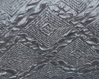 "Diamond Crush grey taffeta embossed tablecloth  fabric dress decor per yard 58"" wife"
