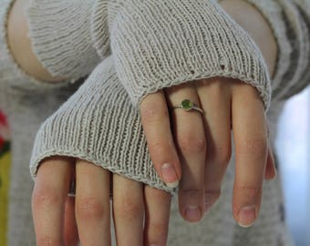Felting KNITTED HAND WARMERS oatmeal coloured pure wool - open fingers boho chic hand cranked and washed to shrink and felt