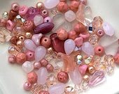 Pink / Coral Czech Glass Bead Mix - Assorted Shapes, Sizes And Color Shades - 20 Grams