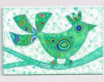Greenbird of Happiness Birthday Card MADE To ORDER Fabric Postcard Mom Friend Child Him Her Frame Gift ThankYou Hello Housewarming Decor 4x6