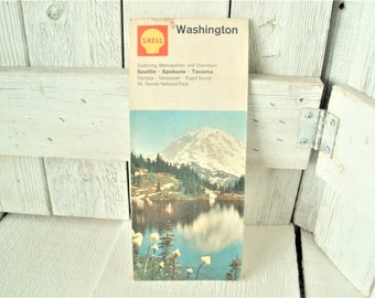 Vintage Washington road map highway folded topographical 1968