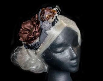 Brown Steampunk Headband- STeampunk Fascinator- Steampunk Wedding Fasciantor- Steampunk Costume- Flower Headband- Steampunk Fairy Headband