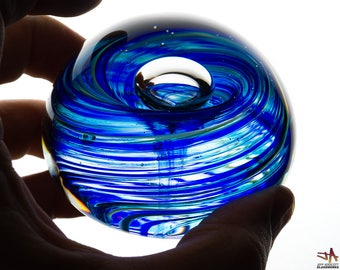 Hand Blown Glass Paperweight - Transparent Blue and Green Streaks with Bubble