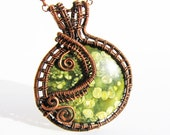 "Pendant - Green Ocean Jasper Cabochon with Oxidized Copper Wire - 2"" x 2.5"" (50mm x 65mm) - Chain Included"