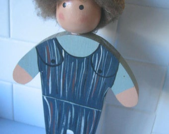 Vintage Wooden Boy Doll Handpainted