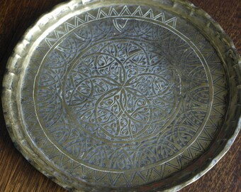 antique ornate islamic brass tray plate plaque