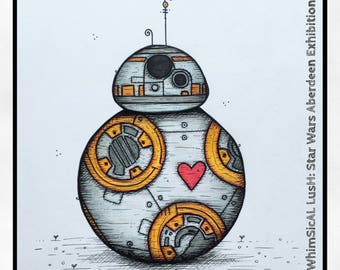 BB8 WhimBot Star Wars Aberdeen Limited Edition Mounted Print 25x25cm