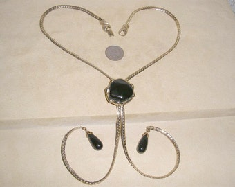 Vintage Black Glass Slide Necklace Signed Pat. Pend. 1950's Jewelry A62