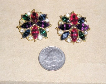 Vintage Multicolored Rhinestone Shoe Clips Matching Pair 1970's Jewelry 10081
