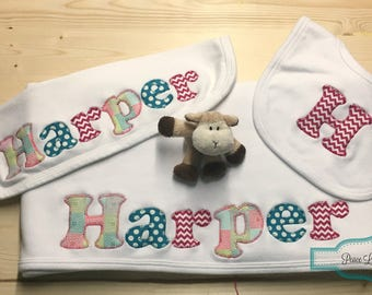 Personalized Baby Blanket, Burp Cloth and Bib Set, Personalized Gift Set, Newborn Blanket, Baby Shower Gift, Pink and Teal Baby, Harper