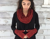 Cranberry Scarf & Fingerless Glove  SET   -   Made To Order