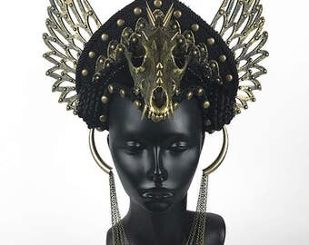 Valkyrie Headdress Headpiece with Skull