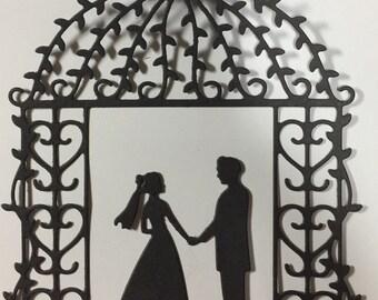 Bride groom gazebo die cut wedding invitation announcement party