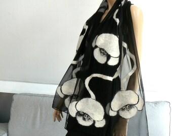 Nuno Felted Scarf merino wool silk floral Nuno felting shawl White flowers