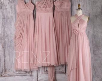 2017 Blush Chiffon Bridesmaid Dress, Mismatch Draped Wedding Dress, Ruched Bodice Prom Dress, Long Formal Dress Full (Z088/T157/T112/L035)