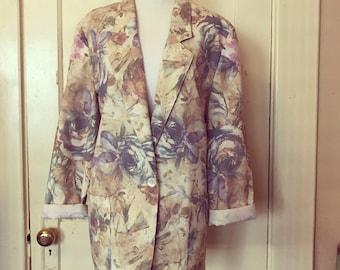 Vintage 1980's floral tunic spring blazer