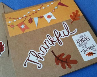 There is always something to be thankful for Handmade Card - Recycled Kraft Paper Square Greeting Card, Thank You Card, Blank Card