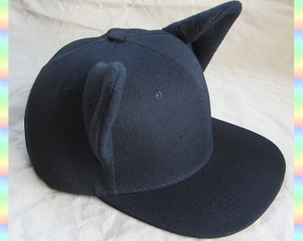 Black Cat Snapback Cap with Kitty Ears