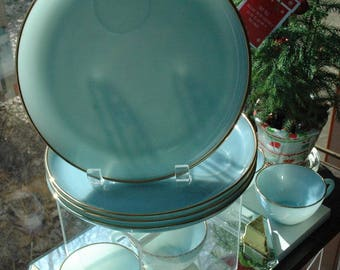 Vintage Set of 4 FireKing Turquoise Blue Luncheon Gold Lined Cups & Plates with Rings - FREE SHIPPING