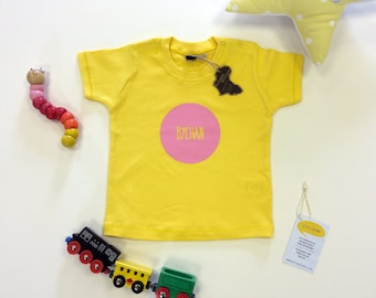 SALE Baby Clothes Yellow T-shirt Welsh Text Bychan Little Pink Unisex
