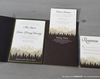Rustic Cascade Mountains Wedding Invitation Sample | Kraft Paper | Flat or Pocket Fold Style