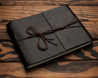 Brown Leather Journal or Leather Sketchbook, Large Sized, Dark Chocolate Leather Handbound Photo Album
