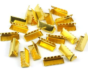 200 Pieces 20*8mm Gold Flat Ribbon Clamp End Crimp [13/16 inch]  (J-EC20)