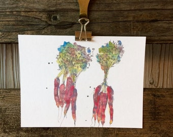 Veggie PostCard - Carrots Postcard - Vegetable Illustration