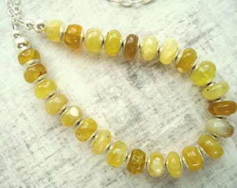 Yellow necklace - Sterling silver necklace - Yellow opal jewelry - Simple bead necklace - Semi precious stone necklace - Gift for her
