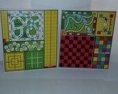 2 Vintage multi game boards colorful graphics paper supplies altered art scrapbooking mixed media