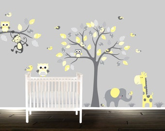 Yellow And Grey Nursery Decals Etsy - Yellow bird wall decals
