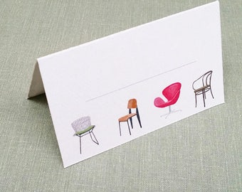 Place Cards Mid Century Modern Chairs Quartet, Set of 12