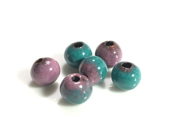 Sea Green and Pink Mix Enameled Copper Beads, Torch Fired Enameled, Vitreous, 6.5mm, 6pcs