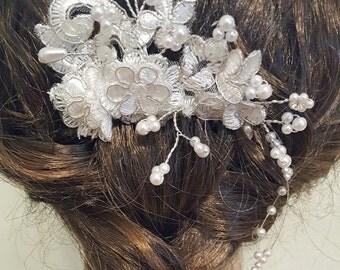 SALE Wedding Hair Piece, Bridal Hair Piece, Wedding Comb, Lace Hair Piece, White Bridal Comb, Lace Bridal Comb, White Silver Wedding Hair Co