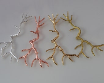 2 Pcs- Branch Pendants, Bare Branches, Silver Gold Matte, Metal Jewelry Findings, Jewelry Supplies, Necklace, 2 Loops (46x26MM) CON1712