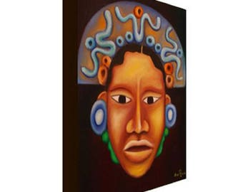 Mayan Face Canvas Print