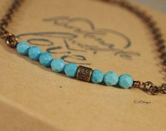 Turquoise Magnesite  Beaded Bracelet, Boho Bracelet, Beaded Chain Bracelet, Bar Bracelet, Southwestern Bracelet, Gift for Her