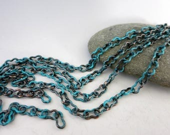 Tideline Copper Peanut Chain, 4x7mm Unsoldered Links, Bulk Chain 3Ft to 10FT, USA Made
