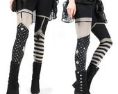 Last pairs- Pirate Girl Leggings , garter legging - thigh high tights, striped leggings, womens pants, bottoms,  carousel ink