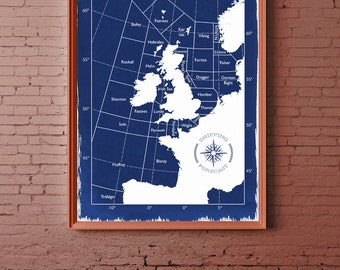 Shipping Forecast Map 50cm x 70cm POSTER, Hand Coated Traditionally Made Cyanotype