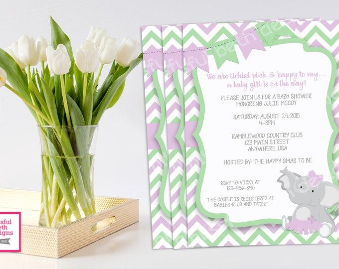 LAVENDER ELEPHANT TUTU, Elephant TuTu Baby Shower Invitation, Baby Shower Invitation, Elephant Tutu, Mint Lavender Baby Shower Invitation