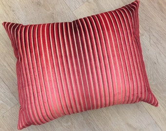 Cut Ombré stripe cushion cover in velvet chenille of RUBY RED and CORAL pink tones on a natural linen back ground. Harlequin fabric -Aida.