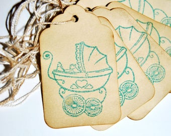 Blue baby boy Carriage stroller coffee stained tags. favor party tag decor. shower wish tree cards