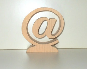 AT Sign Free Standing Unfinished Chunky Wooden Handcut Symbol Size 3 7/8 Inches Tall - Geekery Gift - Techie Gift - Modern Art - @ Sign Gift