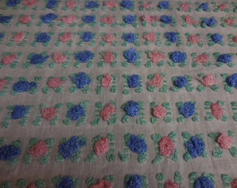 """Rare Vantona White with PINK and BLUE ROSEBUDS Vintage Chenille Bedspread Fabric - Made in Great Britain - 18"""" X 30"""""""