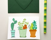Potted Plants- Blank Greeting Card
